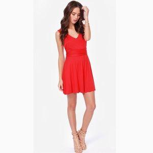 ••red low back skater dress••